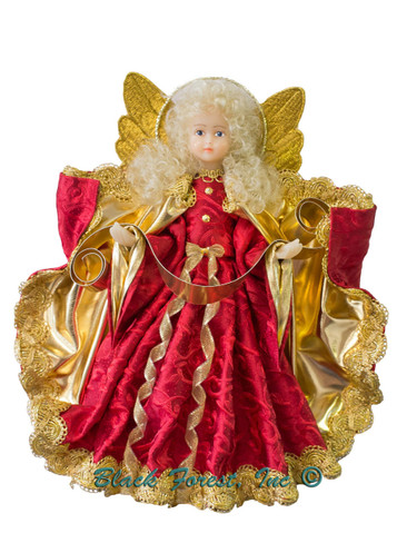 216-III-Red Tree Topper Wax Angel Holding Banner