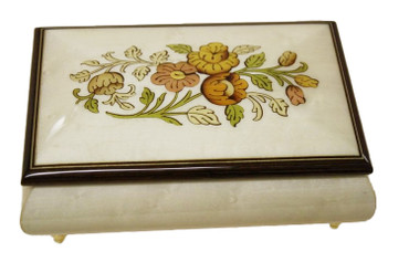 04CF - WHITE Floral Inlay Italian Music Box