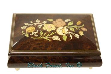 04CF-ELM Floral Inlay Italian Music Box