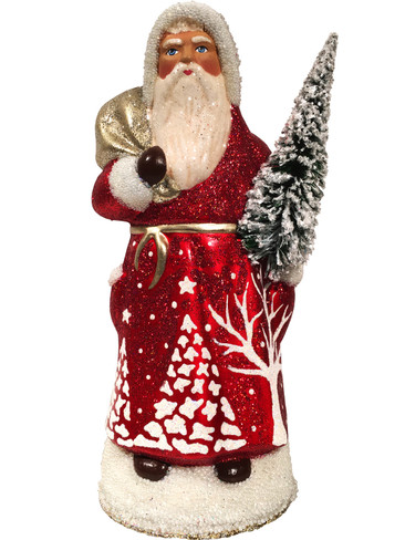 1721SCH Santa Beaded Red Schaller Paper Mache Candy Container