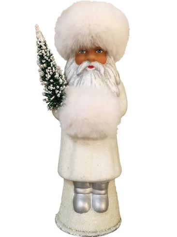 1727SCH Russian White Coat Santa Schaller Paper Mache Candy Container