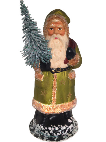 1740 Gold Santa with Stars Schaller Paper Mache Candy Container