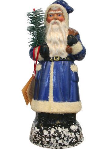 1324 Blue Santa Schaller Paper Mache Candy Container