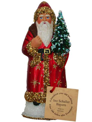 14169 Red Santa Schaller Paper Mache Candy Container