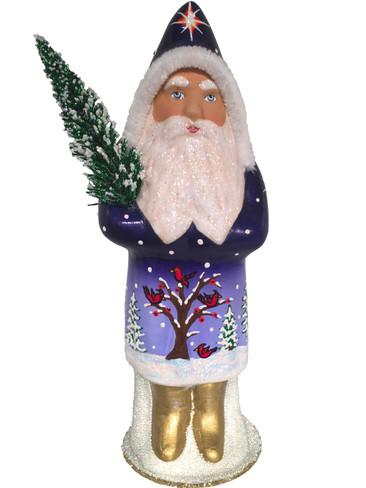 1627 Blue Santa Schaller Paper Mache Candy Container