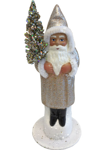 1615 Santa Silver Sponge Finish Schaller Paper Mache Candy Container