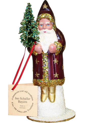 111529 Santa Purple and Gold with Stars Schaller Paper Mache Candy Container