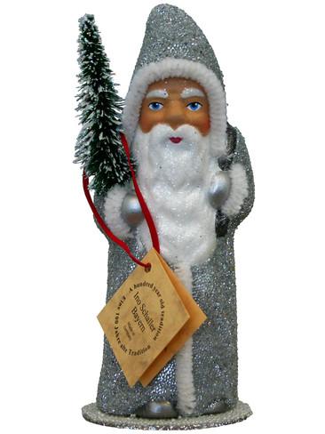 91713 Santa Silver Beaded Schaller Paper Mache Candy Container