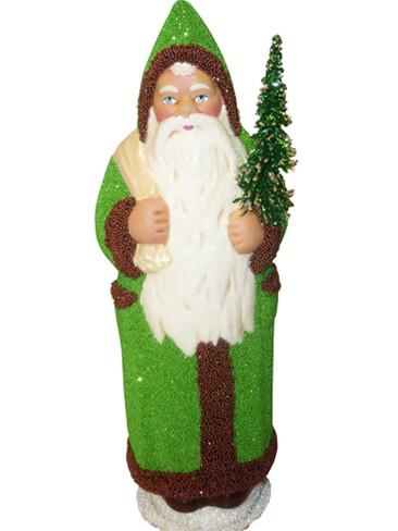 17296 Santa Green Schaller Paper Mache Candy Container