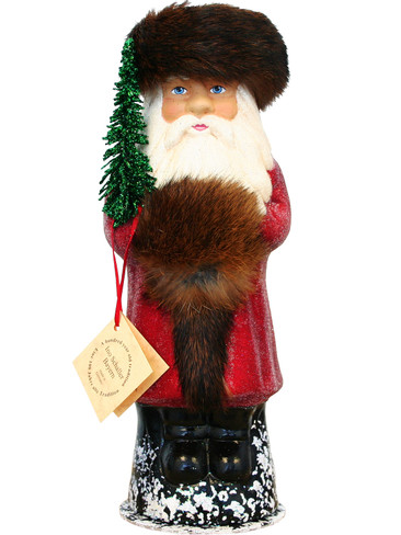 1631 Santa Red Beaded Schaller Paper Mache Candy Container