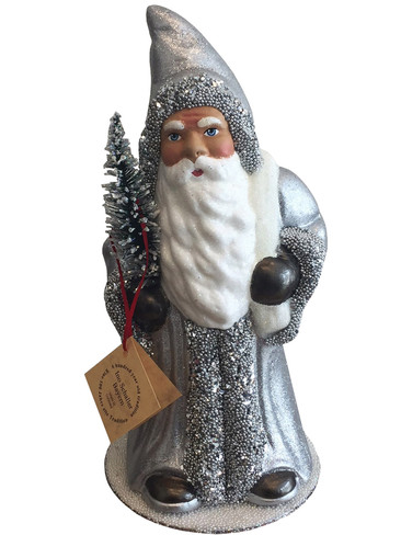 1625 Santa Silver Beaded Schaller Paper Mache Candy Container