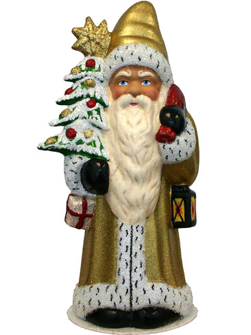 1633 Santa Gold with Tree Schaller Paper Mache Candy Container