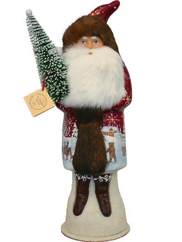 15442 Santa with Animal Scenes Schaller Paper Mache Candy Container