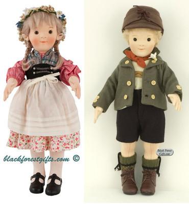 710247-710223 Steiff Katharina and Lukas Felt Doll Set