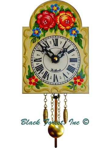 0830QP Quartz Painted Shield Chiming Miniature Clock
