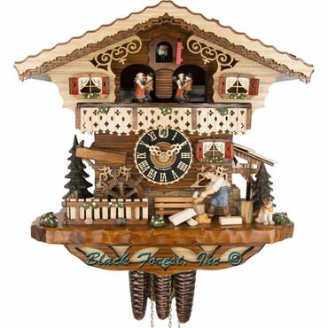 6245T Musical Wood Chopper Chalet 1 Day Cuckoo Clock