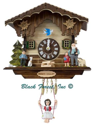 39810SQ Quartz Swinging Lady Heidi House with sound Miniature Clock