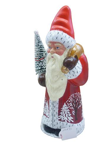 171833 Santa wearing Red Coat Schaller Paper Mache Candy Container