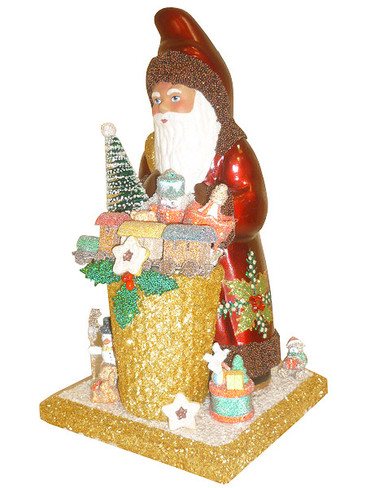 171832 Santa with Holly Leaves Schaller Paper Mache Candy Container