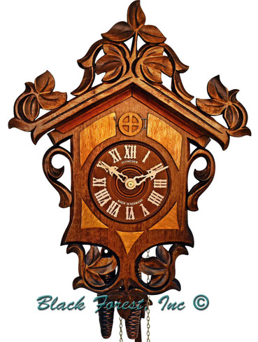 455-9 Light Colored Onlays carved 1Day Cuckoo Clock