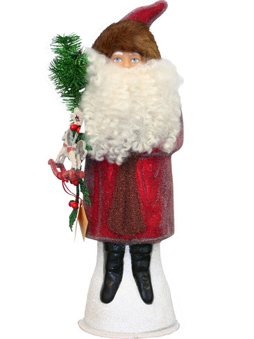 144 Red Beaded Santa with Tree Schaller Paper Mache Candy Container