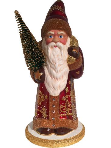 1542S Burgundy Swarovski Santa with Tree Schaller Paper Mache Candy Container