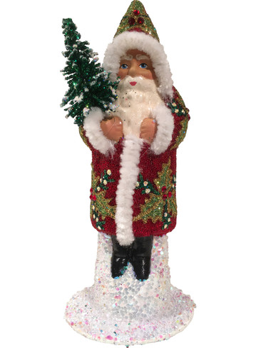 17151S Red and Green Santa with Tree Schaller Paper Mache Candy Container