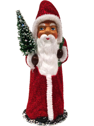 1717R Red Beaded Santa with Tree Schaller Paper Mache Candy Container