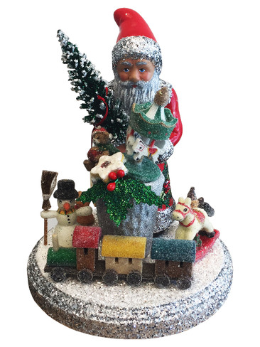 171820 Santa with Gifts Schaller Paper Mache Candy Container