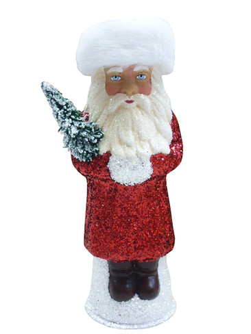 171826 Red Russian Santa with Tree Schaller Paper Mache Candy Container