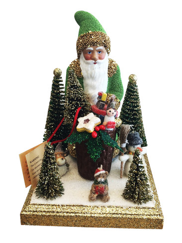 1751 Green Santa with Gifts Schaller Paper Mache Candy Container