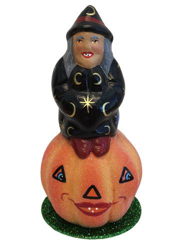 190-3 Halloween Witch on Pumpkin Schaller Paper Mache Candy Container