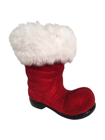 197-26 Beaded Red Boot Schaller Paper Mache Candy Container