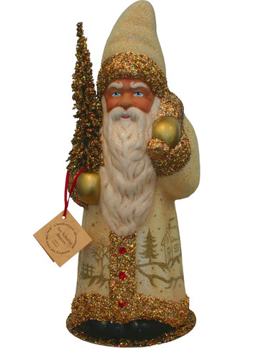 3328 Cream and Gold Santa with Tree Schaller Paper Mache Candy Container