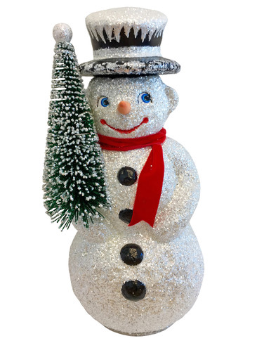 3450 Large Snowman with Tree Schaller Paper Mache Candy Container