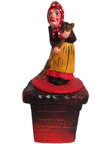 402-21 Halloween Witch on Chimney Schaller Paper Mache Candy Container