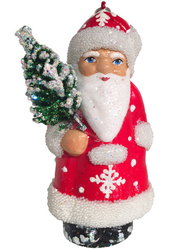 16-10 Red Santa with Tree Schaller Paper Mache Ornament