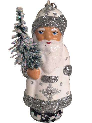 16-11 White Santa with Tree Schaller Paper Mache Ornament