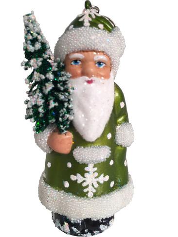 16-12 Green Santa with Tree Schaller Paper Mache Ornament