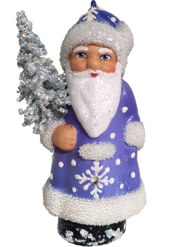 16-13 Blue Santa with Tree Schaller Paper Mache Ornament