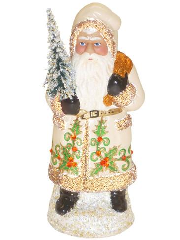 18156 Santa with Cream Coat Schaller Paper Mache Candy Container