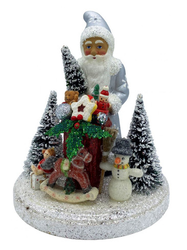 19-21 Silver Santa with Gifts Schaller Paper Mache Candy Container