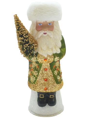 19-260S Green Santa with Swarovski Crystals Schaller Paper Mache Candy Container