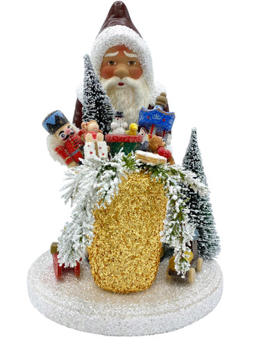 19-30 Santa with Gifts Schaller Paper Mache Candy Container
