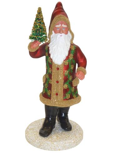 19-37 Santa in Burgundy Coat Schaller Paper Mache Candy Container