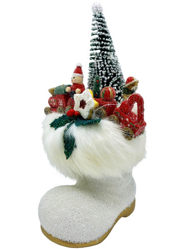 190-13D Small Beaded White Boot with Gifts Schaller Paper Mache Candy Container