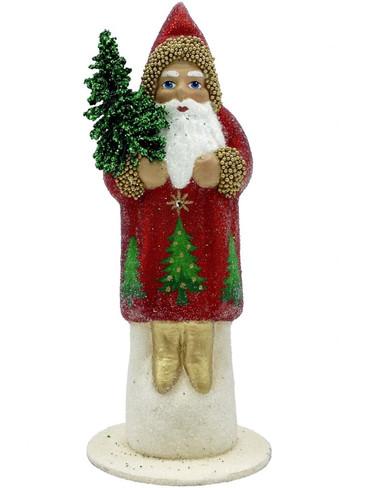 1915 Santa with Swarovski Crystal Schaller Paper Mache Candy Container