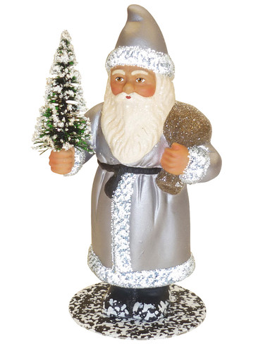 1920 Santa with Silver Coat Schaller Paper Mache Candy Container