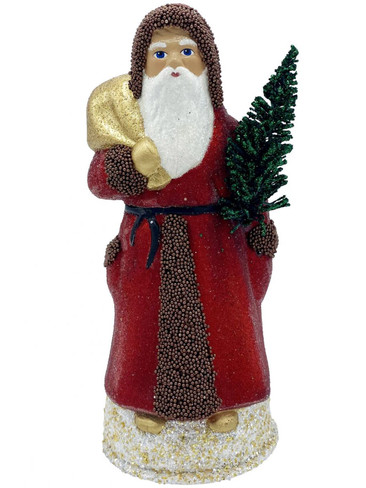 1921 Santa with Red Beaded Coat Schaller Paper Mache Candy Container