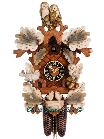 879-4AW Hones Painted Carved Owls and Birds 8 Day Cuckoo Clock